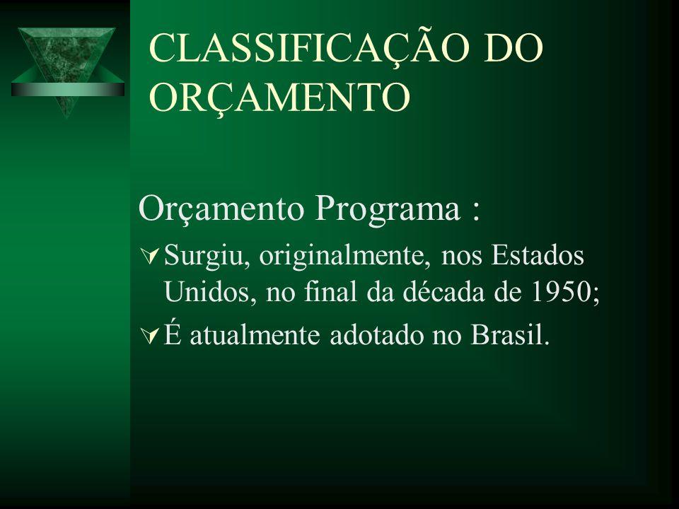 CLASSIFICAÇÃO DO ORÇAMENTO Orçamento Programa : Surgiu, originalmente, nos Estados Unidos, no final da década de 1950; É atualmente adotado no Brasil.