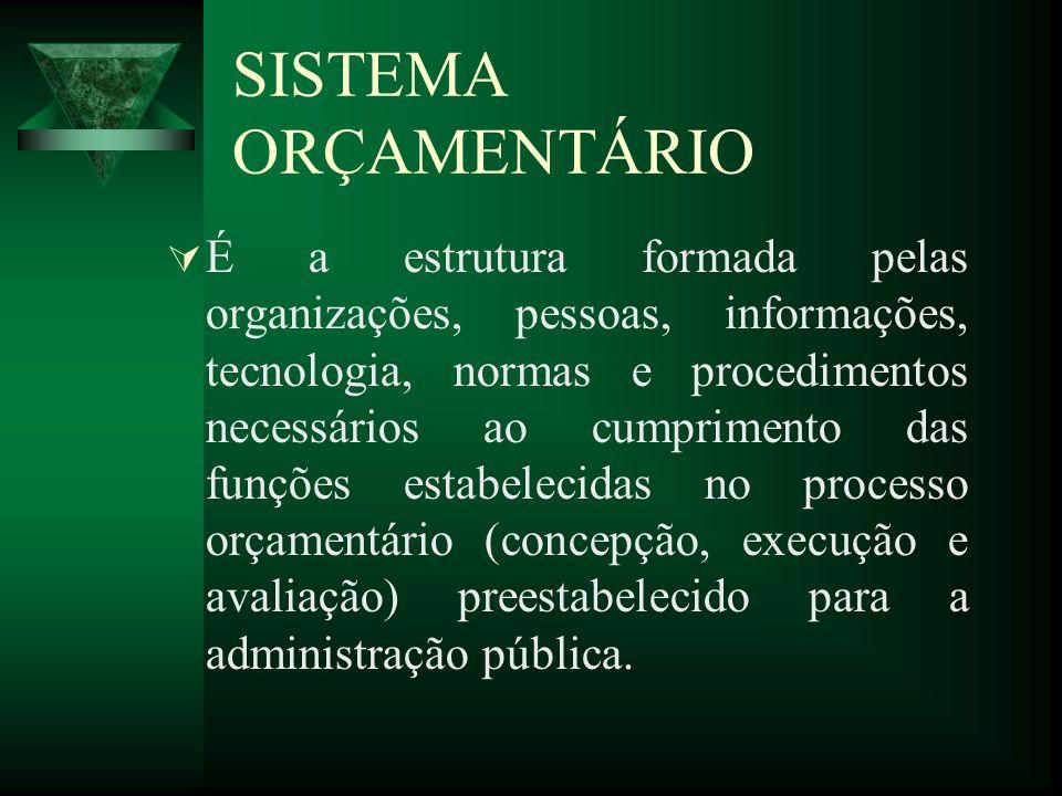 SISTEMA ORÇAMENTÁRIO É a estrutura formada pelas organizações, pessoas, informações, tecnologia, normas e procedimentos necessários ao cumprimento das funções estabelecidas no processo orçamentário (concepção, execução e avaliação) preestabelecido para a administração pública.