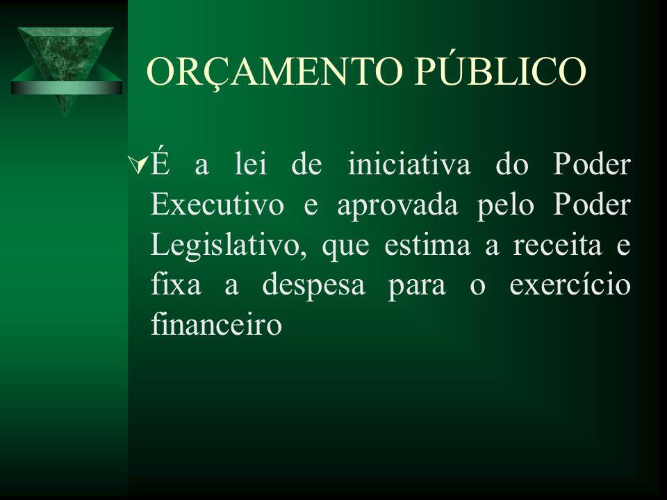 ORÇAMENTO PÚBLICO É a lei de iniciativa do Poder Executivo e aprovada pelo Poder Legislativo, que estima a receita e fixa a despesa para o exercício f