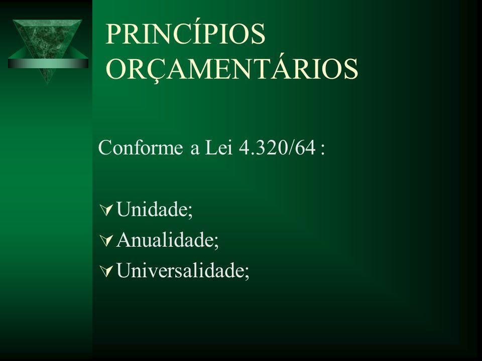 PRINCÍPIOS ORÇAMENTÁRIOS Conforme a Lei 4.320/64 : Unidade; Anualidade; Universalidade;