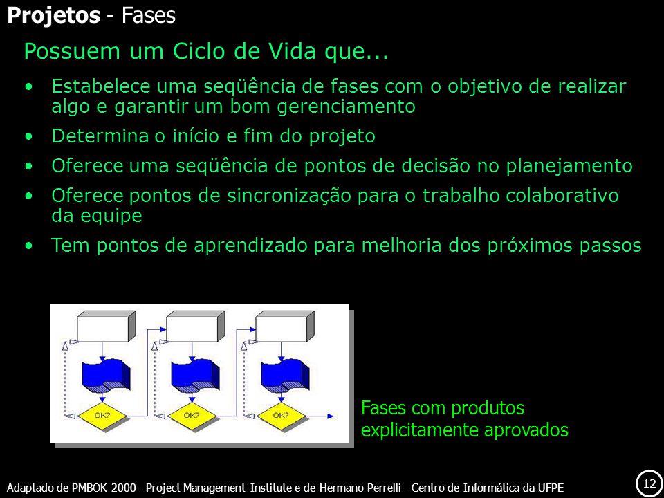 12 Adaptado de PMBOK 2000 - Project Management Institute e de Hermano Perrelli - Centro de Informática da UFPE Possuem um Ciclo de Vida que... Estabel