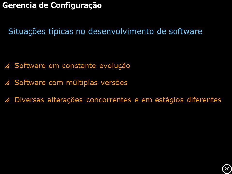 20 Gerencia de Configuração Software em constante evolução Software com múltiplas versões Diversas alterações concorrentes e em estágios diferentes Si