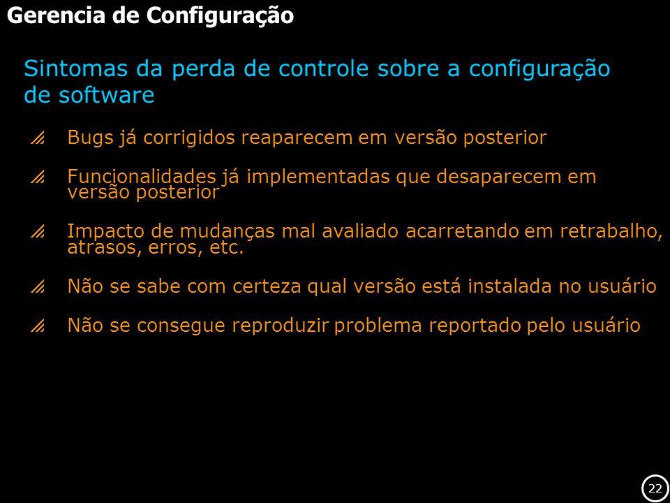 22 Gerencia de Configuração Bugs já corrigidos reaparecem em versão posterior Funcionalidades já implementadas que desaparecem em versão posterior Imp