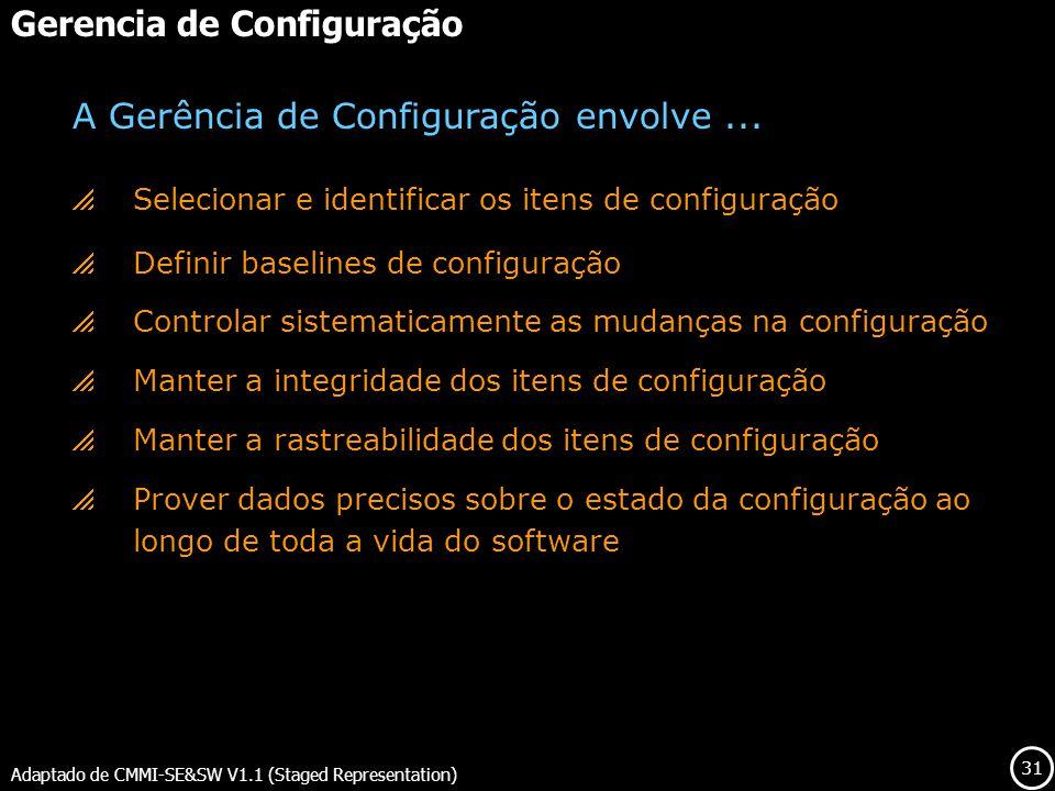 31 Gerencia de Configuração Adaptado de CMMI-SE&SW V1.1 (Staged Representation) Selecionar e identificar os itens de configuração Definir baselines de