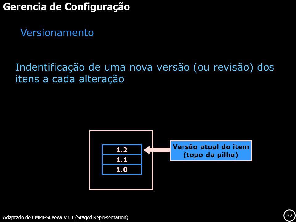 37 Gerencia de Configuração Adaptado de CMMI-SE&SW V1.1 (Staged Representation) Versionamento Indentificação de uma nova versão (ou revisão) dos itens