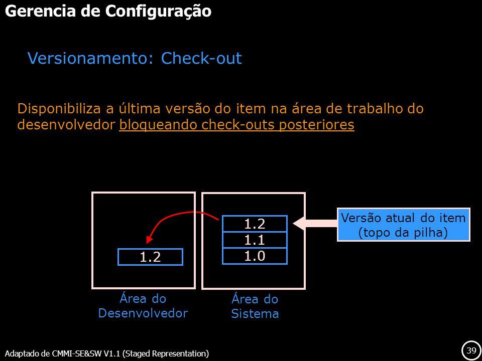 39 Gerencia de Configuração Adaptado de CMMI-SE&SW V1.1 (Staged Representation) Versionamento: Check-out Disponibiliza a última versão do item na área