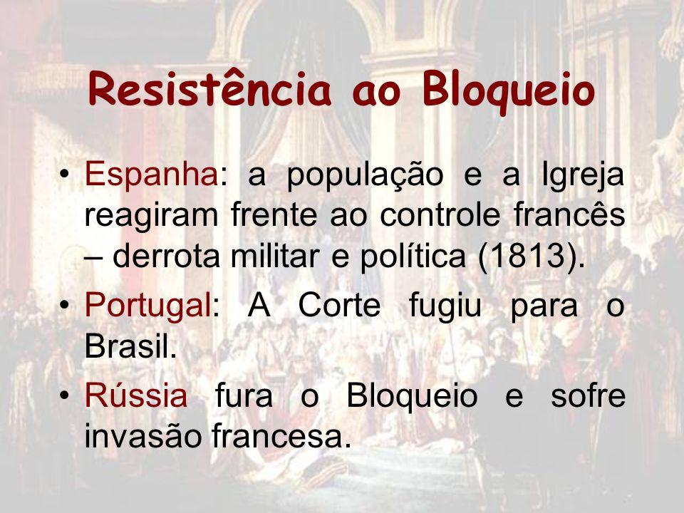 Resistência ao Bloqueio Espanha: a população e a Igreja reagiram frente ao controle francês – derrota militar e política (1813). Portugal: A Corte fug
