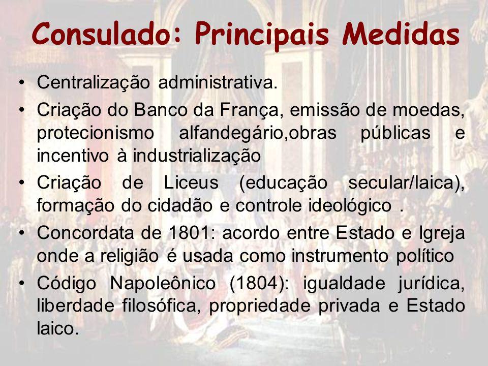 Consulado: Principais Medidas Centralização administrativa. Criação do Banco da França, emissão de moedas, protecionismo alfandegário,obras públicas e