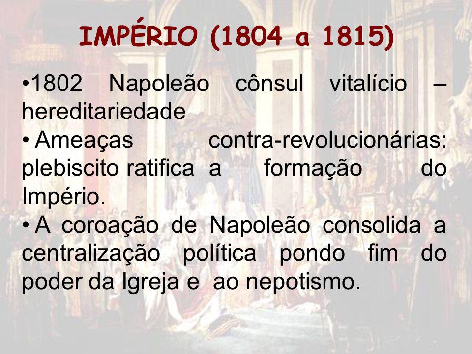 IMPÉRIO (1804 a 1815) 1802 Napoleão cônsul vitalício – hereditariedade Ameaças contra-revolucionárias: plebiscito ratifica a formação do Império. A co