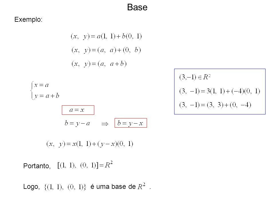 Exemplo: Portanto, Logo, é uma base de. Base