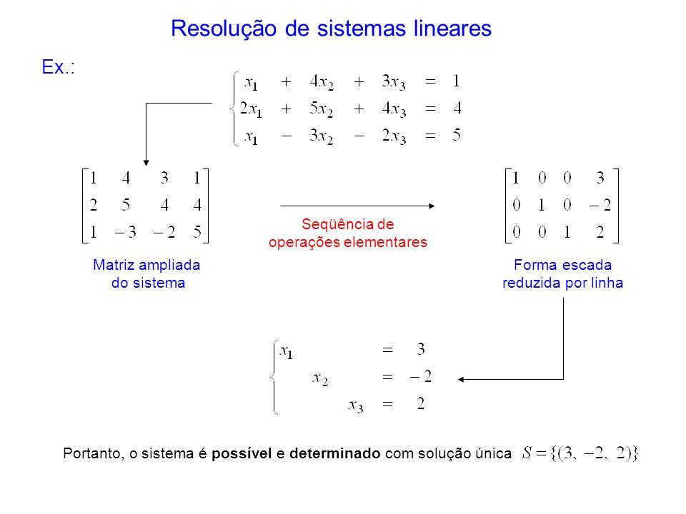 Resolução de sistemas lineares Seqüência de operações elementares Forma escada reduzida por linha Portanto, o sistema é possível e determinado com sol