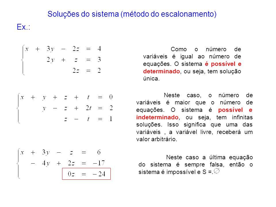 Neste caso, o número de variáveis é maior que o número de equações. O sistema é possível e indeterminado, ou seja, tem infinitas soluções. Isso signif