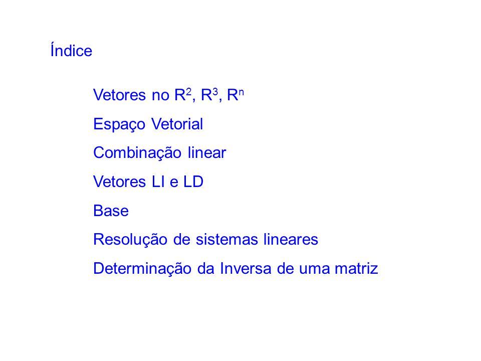 Vetores no R 2, R 3, R n Espaço Vetorial Combinação linear Vetores LI e LD Base Resolução de sistemas lineares Determinação da Inversa de uma matriz Í