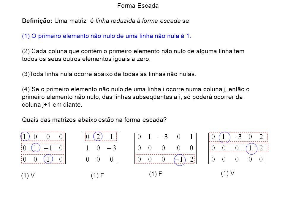 (1) V (1) F (1) V Forma Escada Definição: Uma matriz é linha reduzida à forma escada se (1) O primeiro elemento não nulo de uma linha não nula é 1. (2
