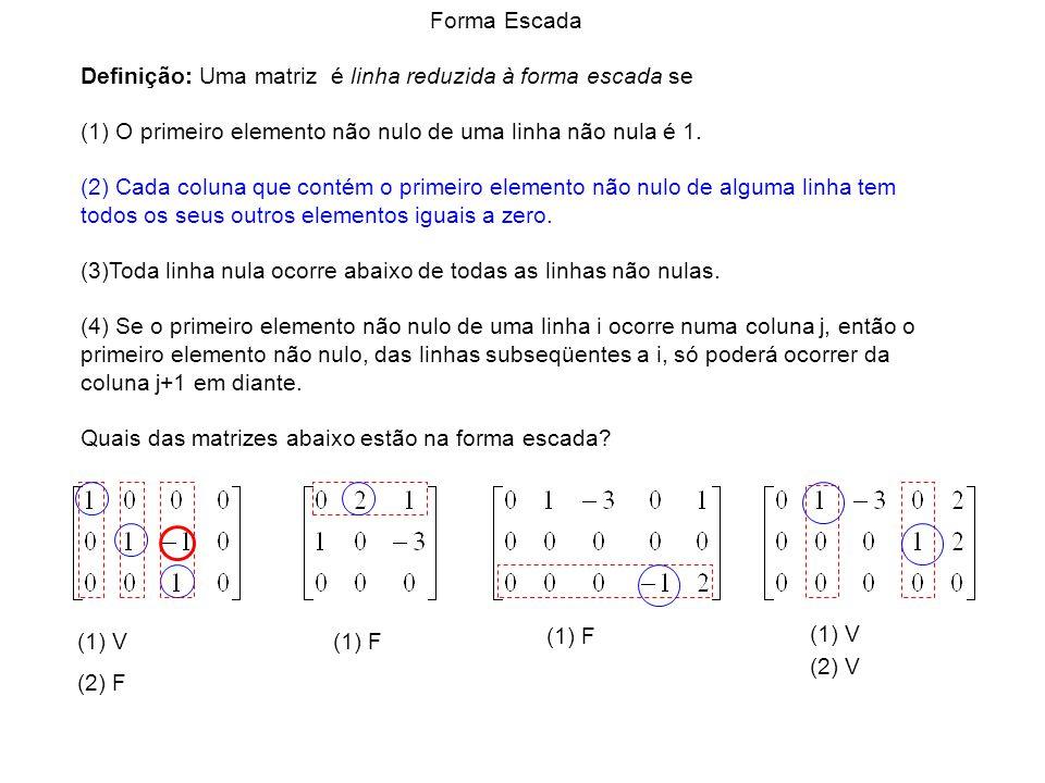 (1) V (1) F (1) V (2) F (2) V Forma Escada Definição: Uma matriz é linha reduzida à forma escada se (1) O primeiro elemento não nulo de uma linha não