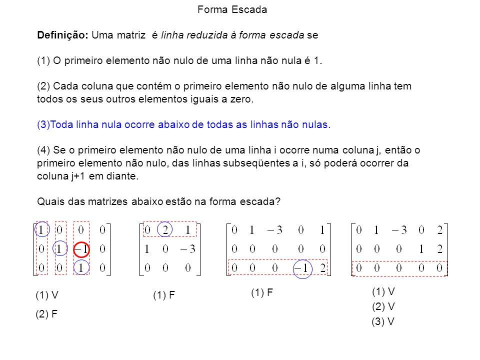 (1) V (1) F (1) V (2) F (2) V (3) V Forma Escada Definição: Uma matriz é linha reduzida à forma escada se (1) O primeiro elemento não nulo de uma linh