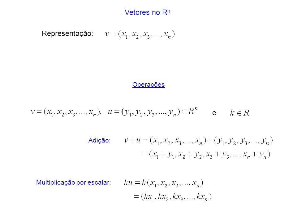 Vetores no R n Adição: Multiplicação por escalar: e Operações Representação: