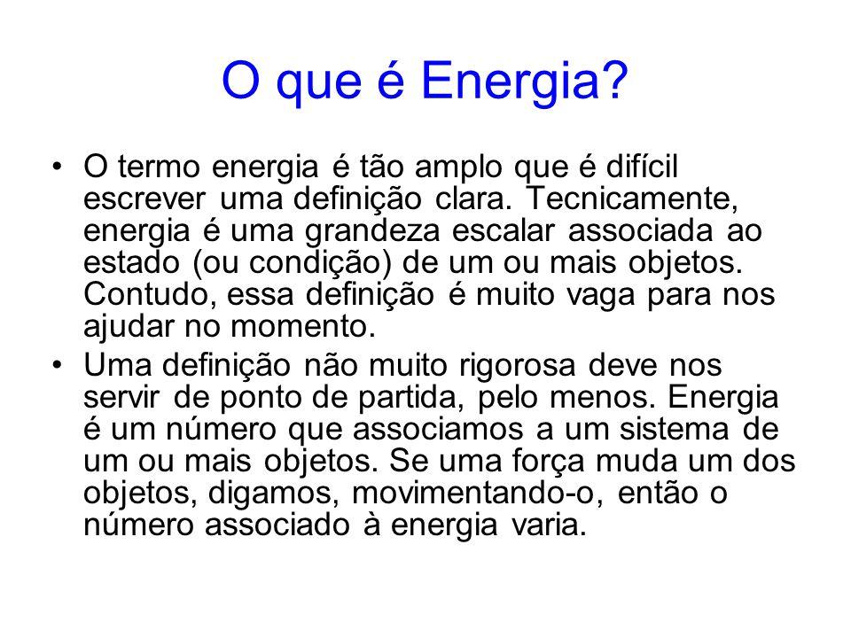 O que é Energia? O termo energia é tão amplo que é difícil escrever uma definição clara. Tecnicamente, energia é uma grandeza escalar associada ao est