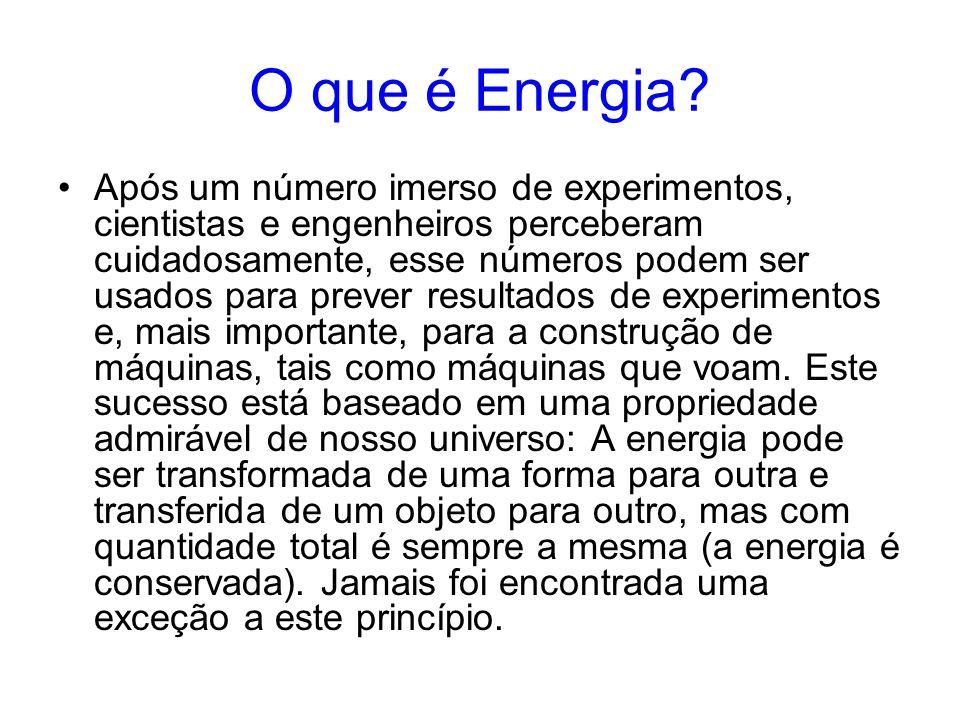 O que é Energia? Após um número imerso de experimentos, cientistas e engenheiros perceberam cuidadosamente, esse números podem ser usados para prever