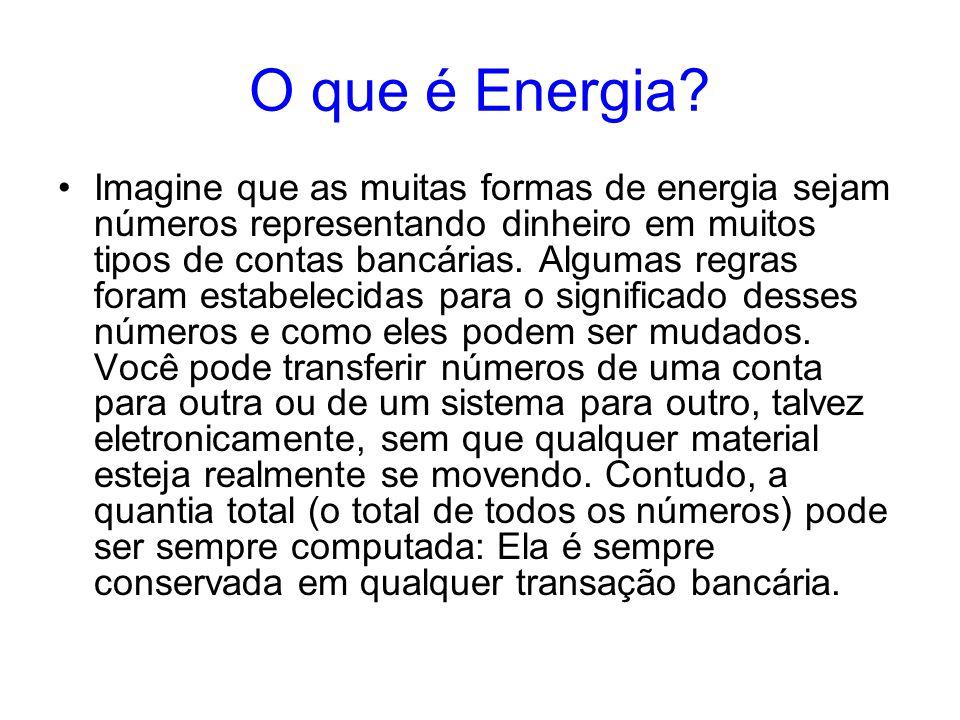 O que é Energia? Imagine que as muitas formas de energia sejam números representando dinheiro em muitos tipos de contas bancárias. Algumas regras fora