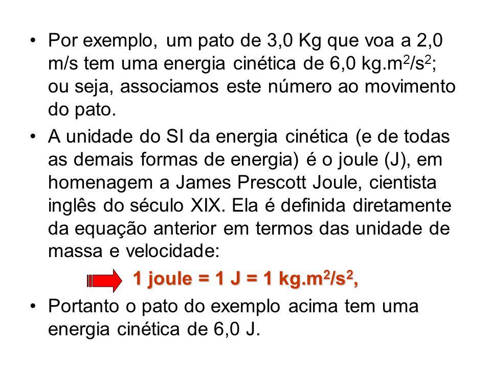 Por exemplo, um pato de 3,0 Kg que voa a 2,0 m/s tem uma energia cinética de 6,0 kg.m 2 /s 2 ; ou seja, associamos este número ao movimento do pato. A