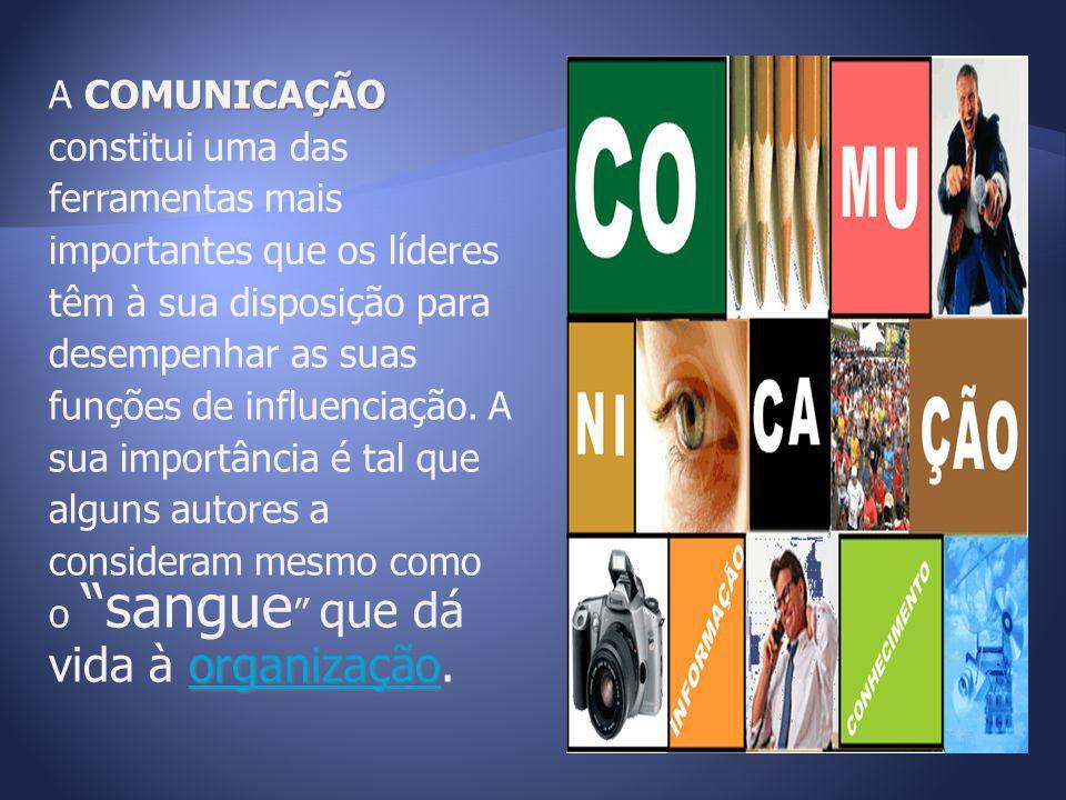 COMUNICAÇÃO organização. A COMUNICAÇÃO constitui uma das ferramentas mais importantes que os líderes têm à sua disposição para desempenhar as suas fun