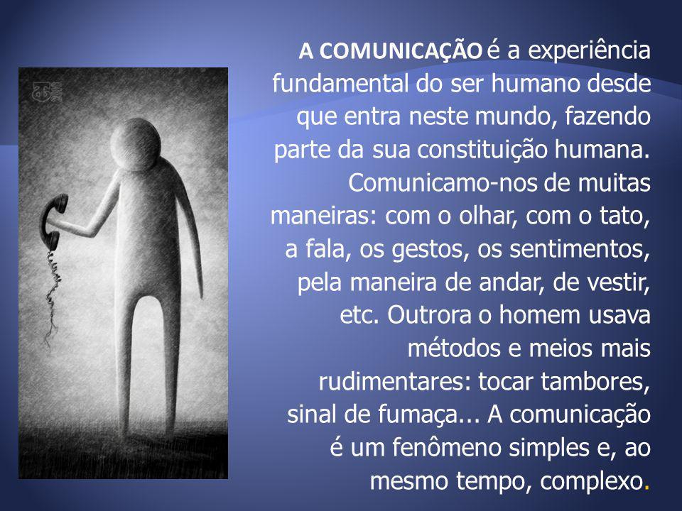A COMUNICAÇÃO é a experiência fundamental do ser humano desde que entra neste mundo, fazendo parte da sua constituição humana. Comunicamo-nos de muita