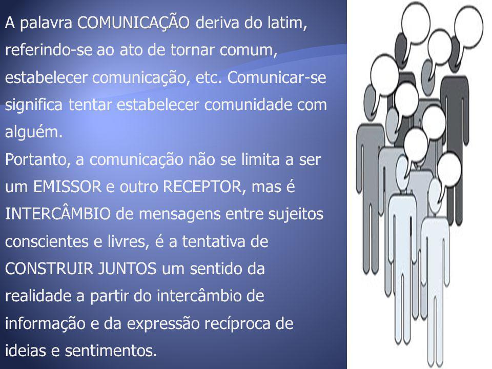 COMUNICAÇÃO A palavra COMUNICAÇÃO deriva do latim, referindo-se ao ato de tornar comum, estabelecer comunicação, etc. Comunicar-se significa tentar es