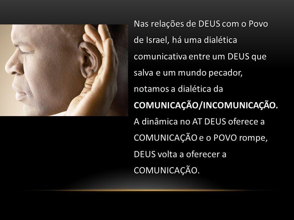 Nas relações de DEUS com o Povo de Israel, há uma dialética comunicativa entre um DEUS que salva e um mundo pecador, notamos a dialética da COMUNICAÇÃ