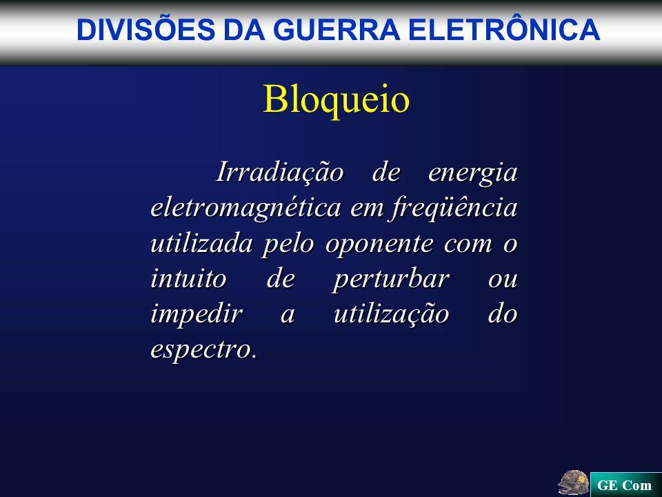 GE Com Bloqueio Irradiação de energia eletromagnética em freqüência utilizada pelo oponente com o intuito de perturbar ou impedir a utilização do espectro.