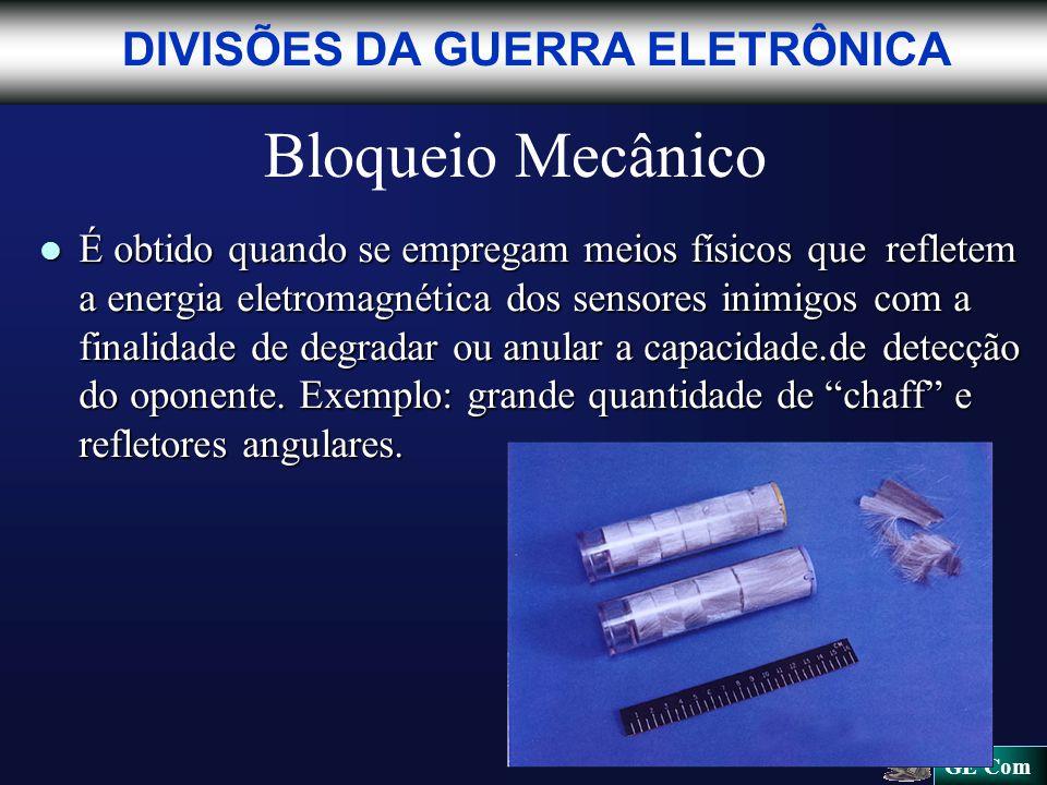 Bloqueio Mecânico l É obtido quando se empregam meios físicos que refletem a energia eletromagnética dos sensores inimigos com a finalidade de degradar ou anular a capacidade.de detecção do oponente.