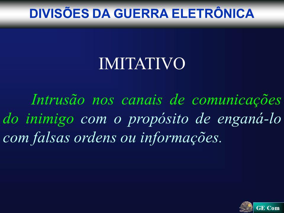 GE Com IMITATIVO Intrusão nos canais de comunicações do inimigo com o propósito de enganá-lo com falsas ordens ou informações.