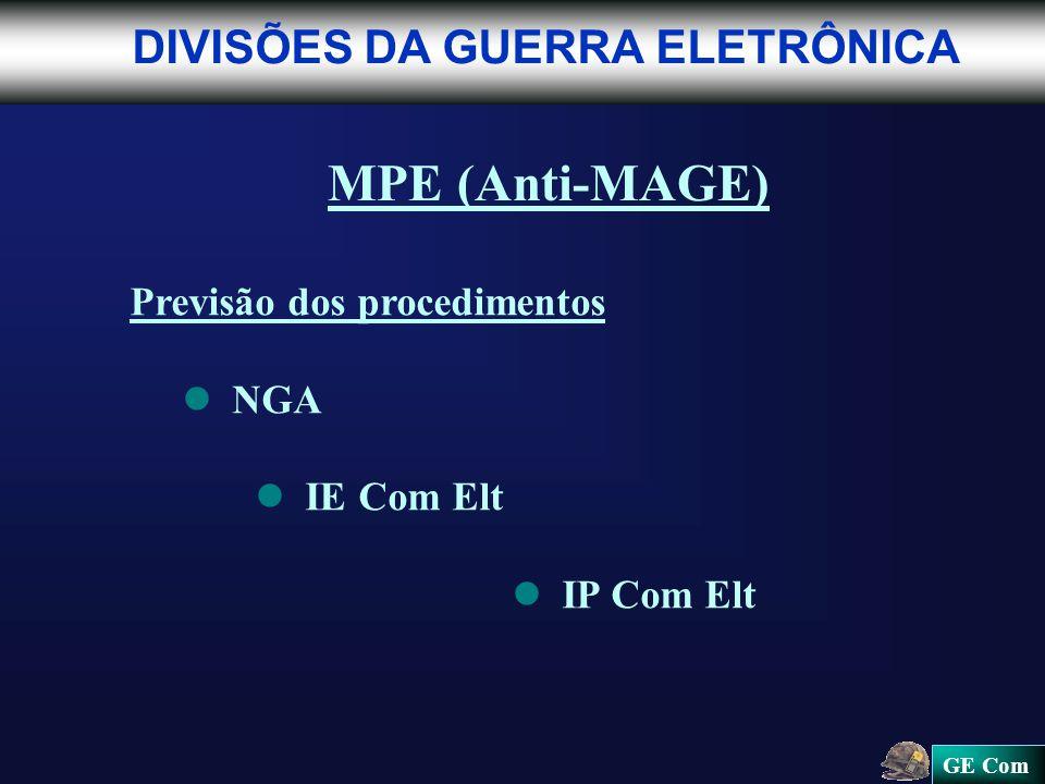 GE Com DIVISÕES DA GUERRA ELETRÔNICA MPE (Anti-MAGE) Previsão dos procedimentos NGA IE Com Elt IP Com Elt