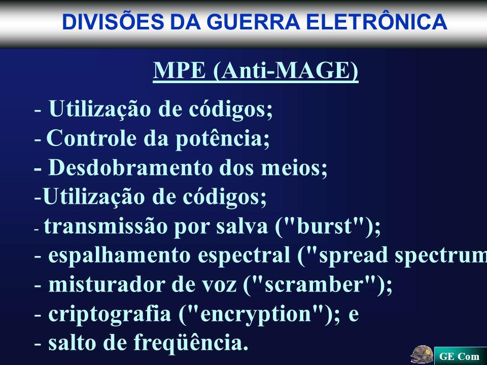 GE Com DIVISÕES DA GUERRA ELETRÔNICA MPE (Anti-MAGE) - - Utilização de códigos; - Controle da potência; - Desdobramento dos meios; - -Utilização de códigos; - - transmissão por salva ( burst ); - - espalhamento espectral ( spread spectrum ); - - misturador de voz ( scramber ); - - criptografia ( encryption ); e - - salto de freqüência.