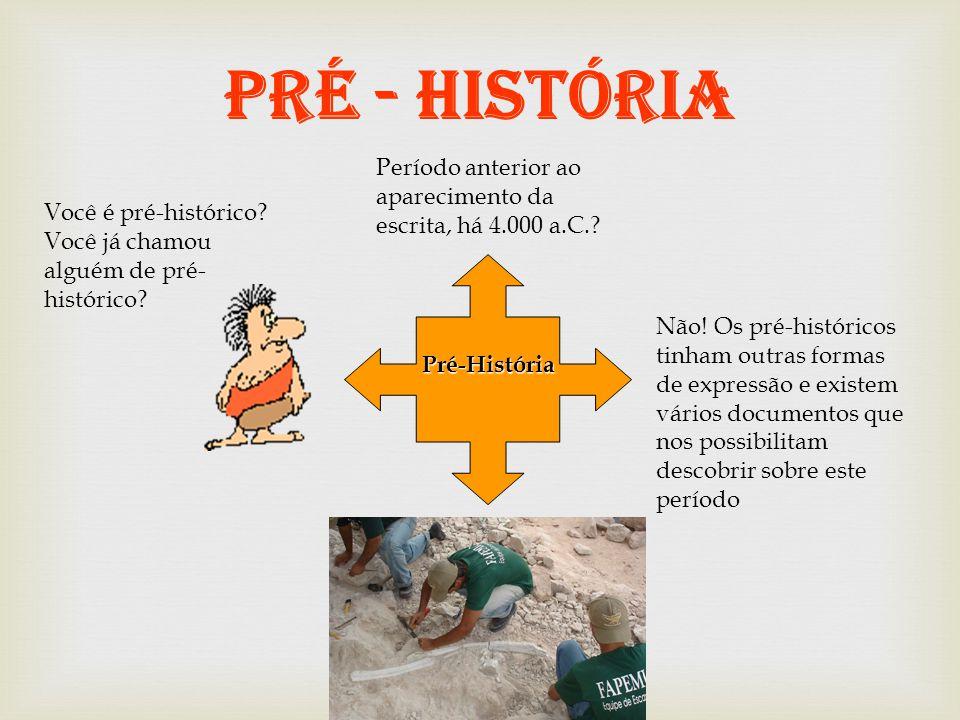 PRÉ - HISTÓRIA Pré-História Período anterior ao aparecimento da escrita, há 4.000 a.C..