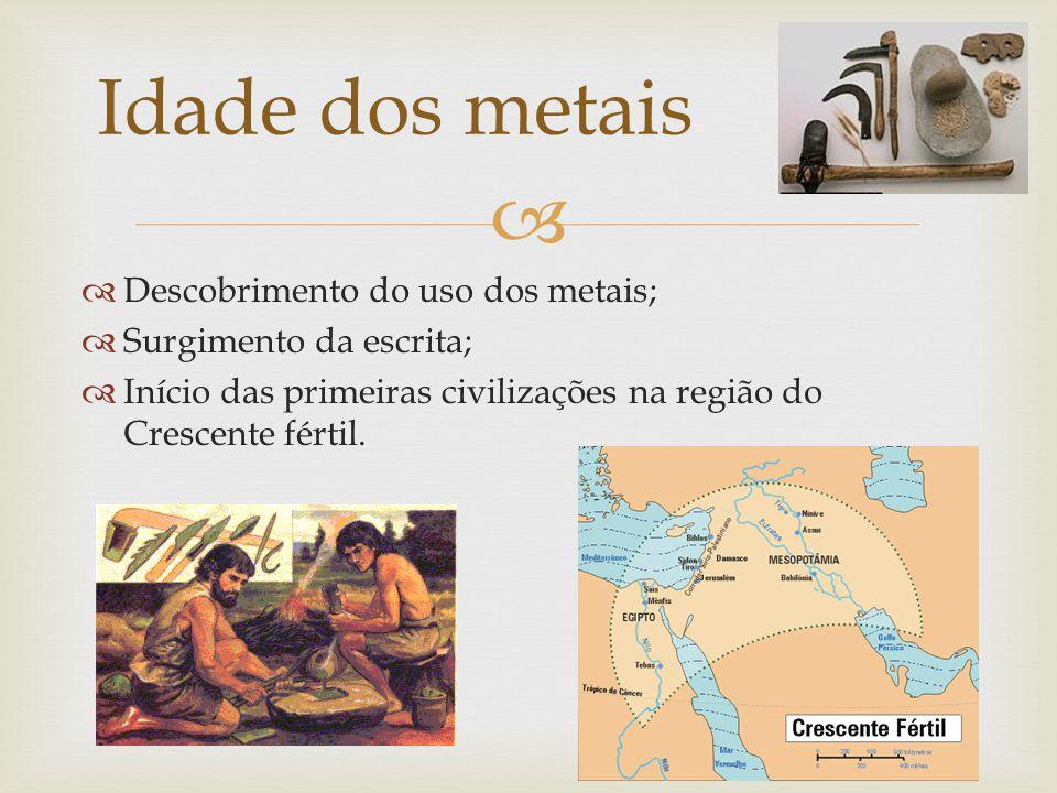 Descobrimento do uso dos metais; Surgimento da escrita; Início das primeiras civilizações na região do Crescente fértil.