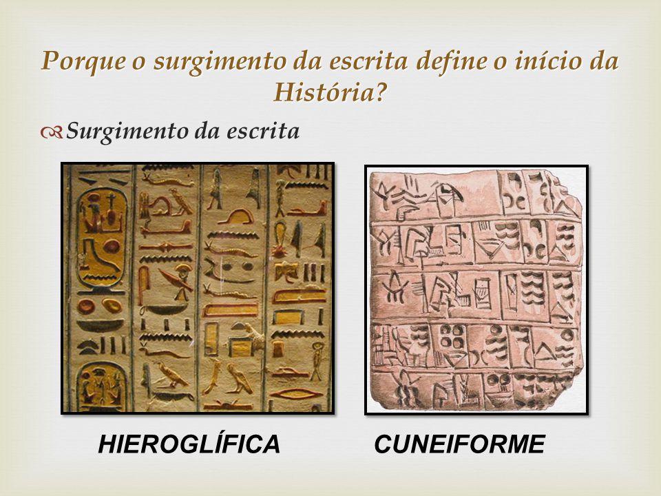 Porque o surgimento da escrita define o início da História? Surgimento da escrita HIEROGLÍFICA CUNEIFORME