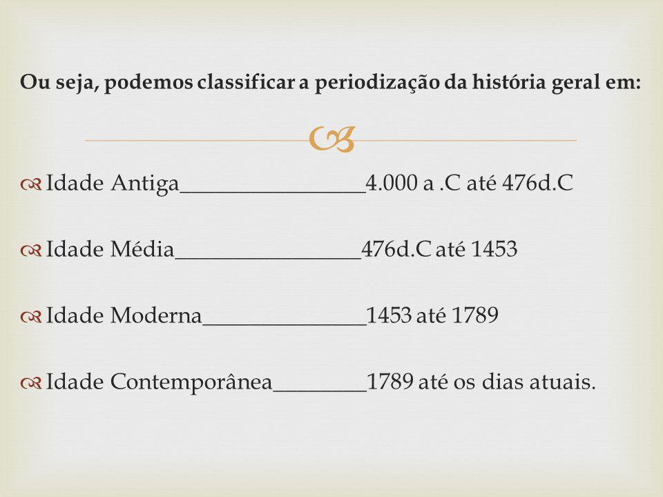 Ou seja, podemos classificar a periodização da história geral em: Idade Antiga________________4.000 a.C até 476d.C Idade Média________________476d.C até 1453 Idade Moderna______________1453 até 1789 Idade Contemporânea________1789 até os dias atuais.