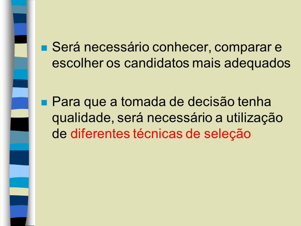 n Será necessário conhecer, comparar e escolher os candidatos mais adequados n Para que a tomada de decisão tenha qualidade, será necessário a utiliza