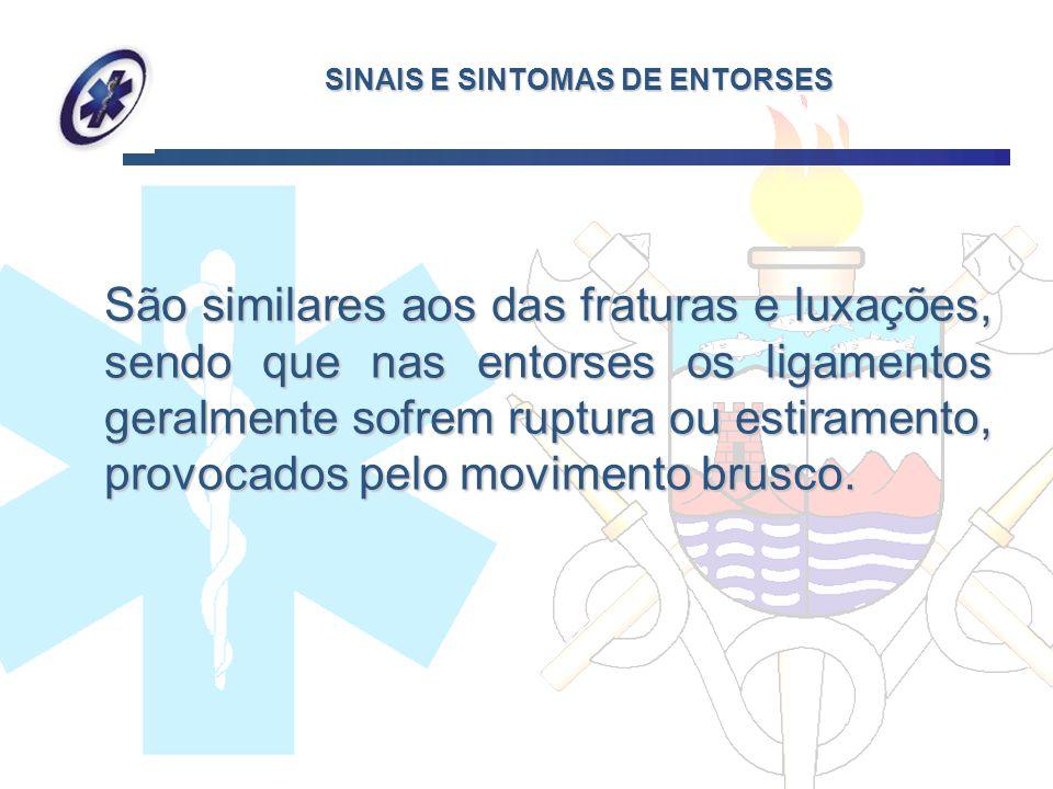 SINAIS E SINTOMAS DE ENTORSES São similares aos das fraturas e luxações, sendo que nas entorses os ligamentos geralmente sofrem ruptura ou estiramento
