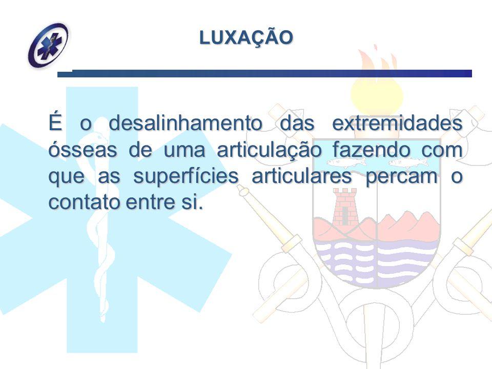 LUXAÇÃO É o desalinhamento das extremidades ósseas de uma articulação fazendo com que as superfícies articulares percam o contato entre si. É o desali