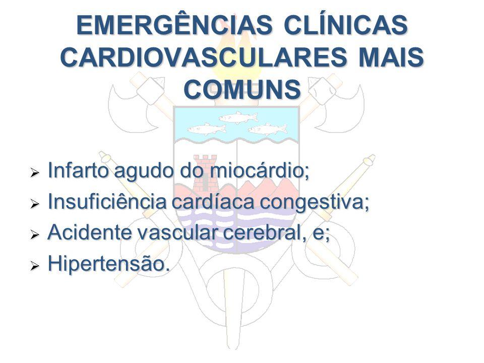 EMERGÊNCIAS CLÍNICAS CARDIOVASCULARES MAIS COMUNS Infarto agudo do miocárdio; Infarto agudo do miocárdio; Insuficiência cardíaca congestiva; Insuficiê