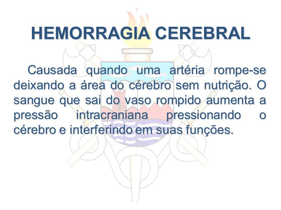 HEMORRAGIA CEREBRAL Causada quando uma artéria rompe-se deixando a área do cérebro sem nutrição. O sangue que sai do vaso rompido aumenta a pressão in