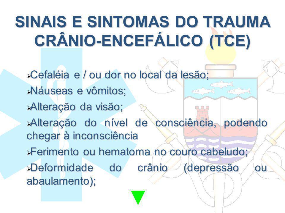 SINAIS E SINTOMAS DO TRAUMA CRÂNIO-ENCEFÁLICO (TCE) Cefaléia e / ou dor no local da lesão; Cefaléia e / ou dor no local da lesão; Náuseas e vômitos; N