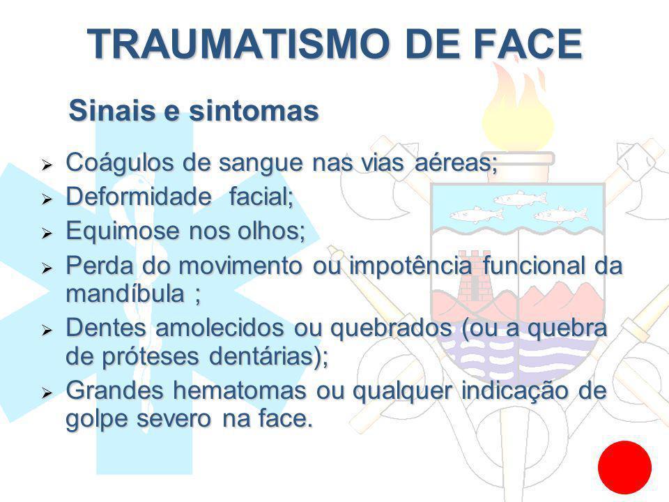 Coágulos de sangue nas vias aéreas; Coágulos de sangue nas vias aéreas; Deformidade facial; Deformidade facial; Equimose nos olhos; Equimose nos olhos