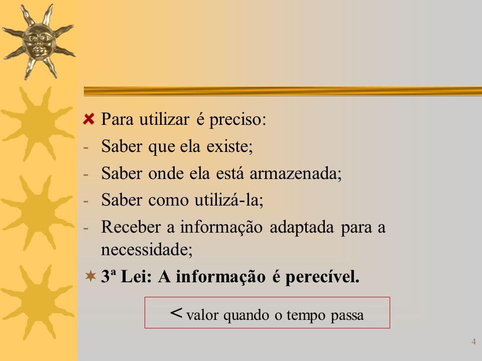 4 Para utilizar é preciso: - Saber que ela existe; - Saber onde ela está armazenada; - Saber como utilizá-la; - Receber a informação adaptada para a n