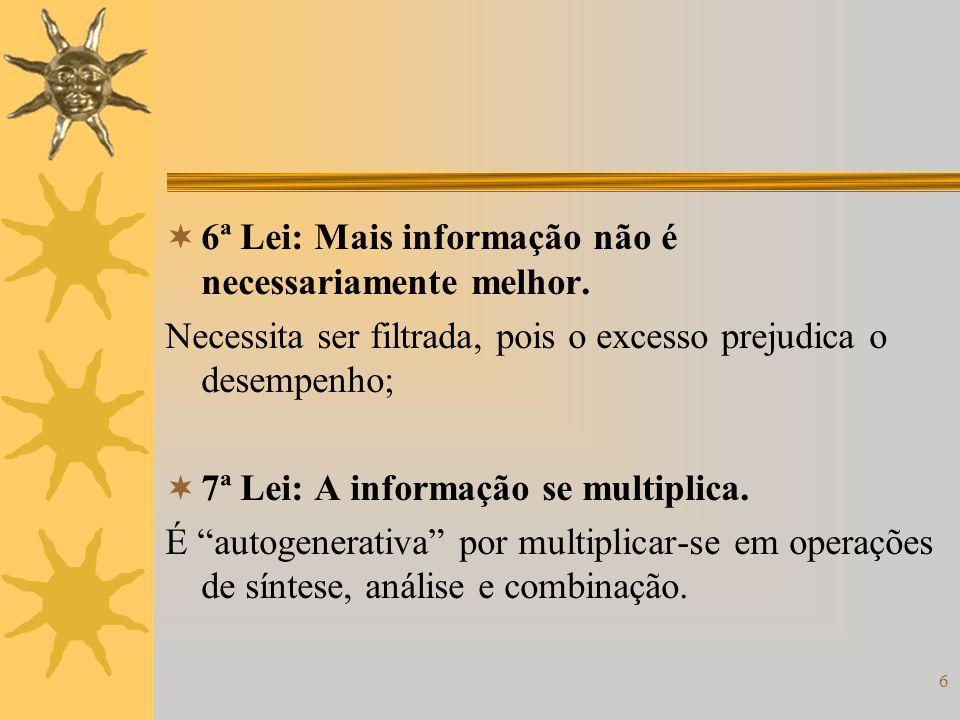 6 6ª Lei: Mais informação não é necessariamente melhor. Necessita ser filtrada, pois o excesso prejudica o desempenho; 7ª Lei: A informação se multipl