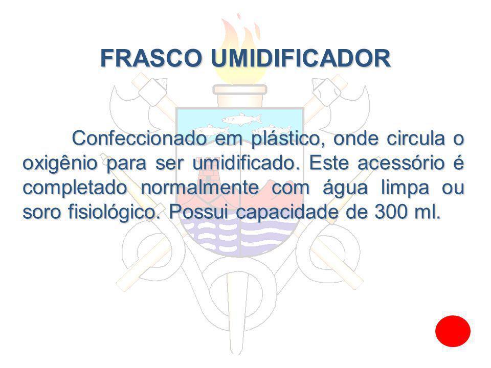 FRASCO UMIDIFICADOR Confeccionado em plástico, onde circula o oxigênio para ser umidificado. Este acessório é completado normalmente com água limpa ou