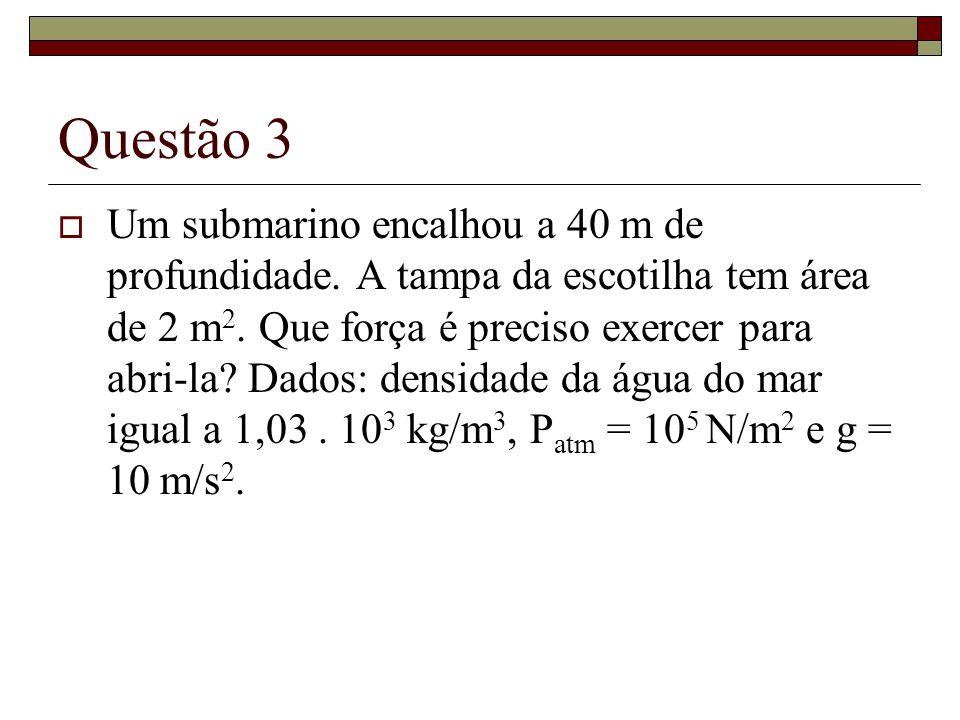 Questão 3 Um submarino encalhou a 40 m de profundidade. A tampa da escotilha tem área de 2 m 2. Que força é preciso exercer para abri-la? Dados: densi