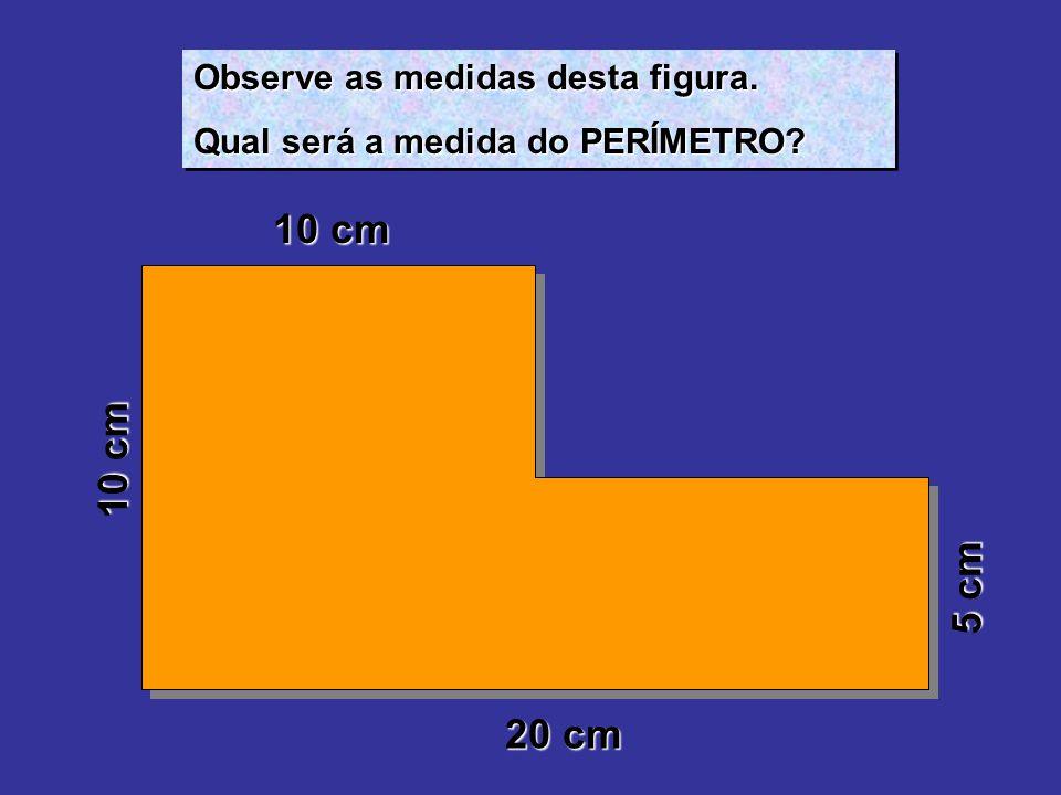 Observe as medidas desta figura. Qual será a medida do PERÍMETRO? Observe as medidas desta figura. Qual será a medida do PERÍMETRO? 10 cm 20 cm 5 cm